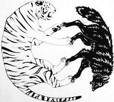 Tiger, Wolf, Yin and Yang Tatt by ninjaofdarkness.deviantart.com on @DeviantArt