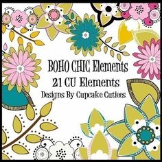 Boho Chic Element Clip art Digital Embellishments Commercial use for Cards, Stationary and Paper Products on Etsy, $5.00