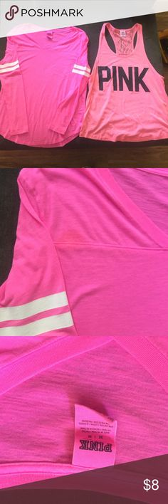 """Victoria Secret """"pink"""" tops 1- long sleeve tee (small stain upper right chest see pic) 1- tank with lace back both size medium PINK Victoria's Secret Tops Tank Tops"""