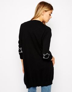 ASOS Longline Cardigan With Cat Elbow Patch !-- a great twist with the cat patches - so cute - must have