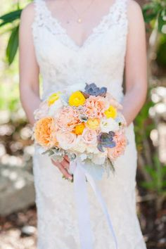 Peach, and Succulent Bridal Bouquet | by Gavita Flora  | Photo by Michele Beckwith Photography: http://www.michelebeckwith.com