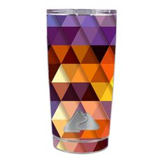 Skin-Decal-for-Ozark-Trail-20-oz-Tumbler-Cup-5-piece-kit-Triangles-Pattern