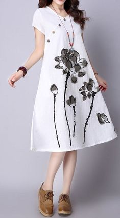 New Women loose fit ethnic lotus flower dress tunic fashion trendy chic sweet #unbranded