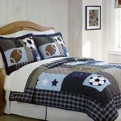 Sports Collage Full/Queen Quilt and 2 Pillow Shams Set by Pem America - BUY NOW ONLY 89.29