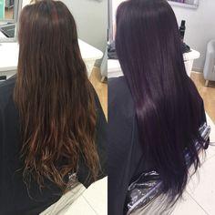 Subtle Black-Purple - All For Hair Color Trending Dark Violet Hair, Purple Black Hair, Hair Color Purple, Purple Tinted Hair, Black Cherry Hair Color, Dark Brown Purple Hair, Subtle Purple Hair, Violet Hair Colors, Burgundy Plum Hair