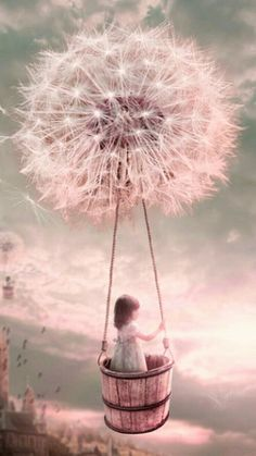 The thought of being carried away by a Dandelion-wish. Would be a sweet little girl bedroom theme. The thought of being carried away by a Dandelion-wish. Would be a sweet little girl bedroom theme. Dandelion Wish, Fairy Art, Whimsical Art, Surreal Art, Belle Photo, Cute Wallpapers, Hd Wallpaper, Cute Art, Art Girl