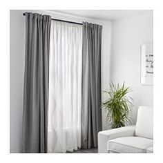 IKEA - MURRUTA, Lace curtains, 1 pair, , The lace curtains let the daylight through but provide privacy so they are perfect to use in a layered window solution.The slot heading allows you to hang the curtains directly on a curtain rod.