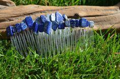 Lapis Lazuli Stone Hair Combs set of 2 by DejaVuDesignz2 on Etsy