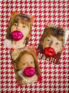 It doesn't get much cuter than Me and My Insanity's Lips card. Take cute photos of your kids, photoshop your message, and glue on some tasty chocolate lips for an adorable card. Source: Me and My Insanity