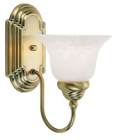 Livex Lighting 1001 Belmont 1 Light Bathroom Sconce Antique Brass Indoor Lighting Bathroom Fixtures Bathroom Sconce