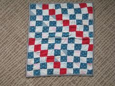 ANTIQUE DOLL QUILT, PATCHWORK, RED/ WHITE, BLUE, eBay, tryit5