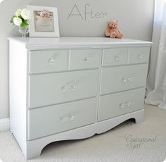 Painted Furniture Ideas | Love this half paint technique. At first it looks like a white dresser ...