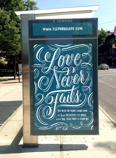 Love Never Fails by @Dana Curtis Curtis Tanamachi for Trinity Grace Park Slope