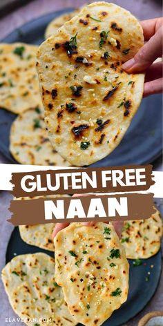 Gluten Free Naan, Gluten Free Cooking, Vegan Gluten Free, Eating Gluten Free, Gluten Free Dairy Free Bread Recipe, Healthy Gluten Free Bread, Gluten Free Tortillas, Vegan Bread, Gluten Free Muffins