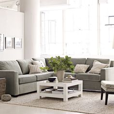 Family room decor (West Elm Henry Sectional sofa)