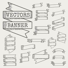Illustration of ribbon banner set Framed Letters, Banner Letters, Ribbon Banner, Bullet Journal Banner, Bullet Journal Writing, Lettering Tutorial, Tattoo Lettering Fonts, Hand Lettering, Banners