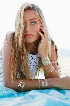 Blue Lagoon Temporary Metallic Jewelry Tattoos | Lulu DK