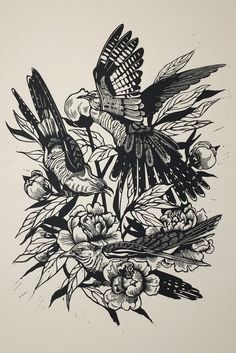 "Linocut - ""Cuckoos and Peonies"" - Karin Rytter Bird Sketch, Linoprint, Colorful Paintings, Line Art, Printmaking, Peonies, Hand Carved, Contemporary Art, Birds"