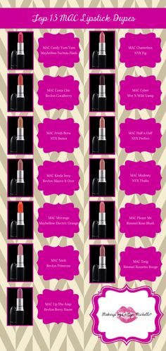 MAC lipstick dupes drugstore must have makeup Nyx Cosmetics, Dupes Nyx, Mac Lipstick Dupes, Eyeshadow Dupes, Eyeshadow Palette, Benefit Cosmetics, Glitter Eyeshadow, Lip Gloss, Dupe Makeup