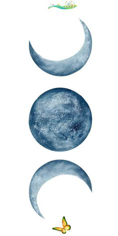 Blue Moon Phases Watercolor Mini Art Print by ccartstudio  <br> Watercolor Moon, Watercolor Flowers, Watercolor Paintings, Plains Background, Background Vintage, Art Aquarelle, Moon Painting, Cool Backgrounds, Vintage Backgrounds