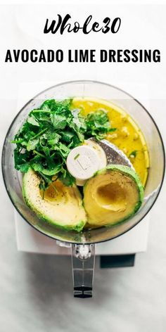 Creamy and refreshing avocado cilantro lime dressing. Great for dipping veggies . Creamy and refreshing avocado cilantro lime dressing. Great for dipping Whole30 Dinner Recipes, Whole Food Recipes, Vegetarian Recipes, Cooking Recipes, Healthy Recipes, Lime Recipes Dinner, Whole 30 Easy Recipes, Whole 30 Vegetarian, Cooking Fish