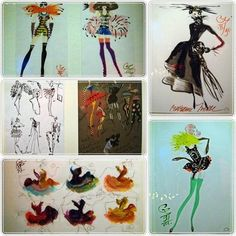 Christian Lacroix fashion sketches