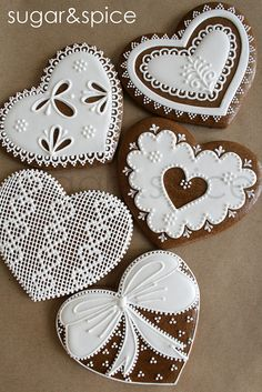 Cross-stitch and lace gingerbread hearts  www.flickr.com/photos/sweethelengrace/8465483057/in/photostream