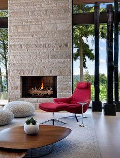 Inspiration for living room - fireplace between big windows/doors
