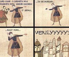 Bayeux Tapestry memes - CSI: Middle Ages - I don't even know anymore Bayeux Tapestry, Medieval Tapestry, Sunglasses Meme, History Puns, Funny History, Art History, Medieval Memes, Medieval Reactions, Classical Art Memes