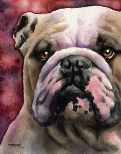 BULLDOG Art Print Signed by Artist DJ Rogers by k9artgallery