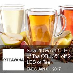 Teavana - Save 10% Off 1 LB of Tea OR 15% Off 2 LBS Of Tea  Save 10% off 1 LB of Tea, 15% off 2 LBS of Tea or 20% off 3 LBS of Tea when you buy in bulk at Teavana! Ends 01/01/2017  Brought to you by http://www.imin.com and http://www.imin.com/store-coupons/teavana