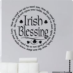 """24"""" Irish Blessing May The Road Rise Up To Meet You. May The Wind Be Always At Your Back Four Leaf Clover Wall Decal Sticker Art Mural Home Décor Quote"""