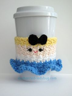Free Crochet Alice in Wonderland Coffee Cup cozy pattern by The Enchanted Ladybug Crochet Coffee Cozy, Coffee Cup Cozy, Crochet Cozy, Crochet Gifts, Free Crochet, Coffee Cups, Crochet Fish, Crochet Things, Irish Crochet