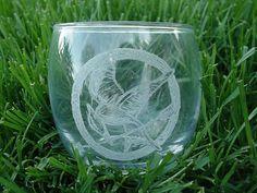 Mockingjay Hand Engraved Glass votive by EkesArt on Etsy, via Etsy.
