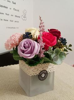 """- 3 roses & 1 carnation soap flowers assorted color flowers. - Measures appoximately 9""""(23cm) tall (3 1/2""""(9cm) tall vase only) - Includes at least 2 different Bushes and Bushes will vary - ITEM # : M1622 - Price : $45 - Delivery : fee not included email us for detail of delivery #www.keziaherez.com #Order keziaherez@gmail.com #mother's day gift #happybirthday gift #valentinesday gift #soapflower #love #flower stagram #flower"""