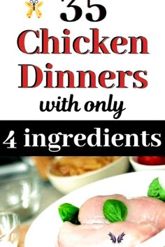 YUM  A ton of super easy chicken recipes for dinner  with just 4 ingredients  These quick   simple meals are perfect main dishes for weeknight dinners  Recipes for boneless chicken breasts  and can be made in your Crock Pot or oven  These 4 ingredient chicken recipes are comfort foods    oven baked healthy recipes  even for kids   These easy   quick simple chicken dinners work for families  try these easy casserole ideas for dinner tonight   chickenrecipes  chickendinner… Easy Chicken Dinner Recipes, Baked Chicken Recipes, 4 Ingredient Chicken Recipe, Quick Easy Meals, Simple Meals, Recipes With Few Ingredients, Healthy Baking, Healthy Recipes, Super Easy