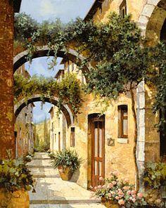 Window Painting - Sotto Gli Archi by Guido Borelli
