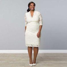 Beautiful White Or Ivory Soft Lace V-Neck Half Sleeve Plus Size Wedding Dress