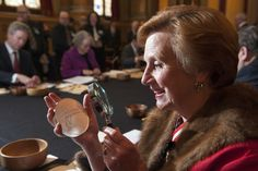 The Queen's Remembrancer, Senior Master Barbara Fontaine, examines a First World War gold kilo coin at the 2015 Trial of the Pyx http://www.royalmint.com/