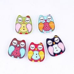Free Shipping Retail 10Pcs Mixed 2 Holes Cartoon Owl Animal Pattern Wood Sewing Buttons Scrapbooking 22x20mm