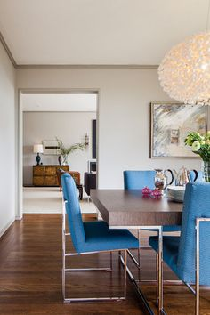 from Houzz - contemporary dining room by Cheryl Burke Interior Design - love the colors, so restful