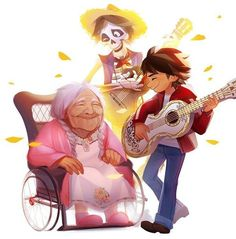 Remember Me - Miguel Rivera, his great grandmother, Mama Coco and Hector from Coco Disney Pixar, Disney Films, Disney Fan Art, Disney Animation, Disney And Dreamworks, Disney Love, Disney Magic, Disney Channel, Phineas Et Ferb