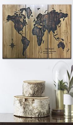 Custom Wood Engraved Sign Wood Carved Signs Pallet Wood Decor Wood Map Wall Art World Map Wood Art Natural Wood Wall Art Small Wood Decor  USD 155.78+