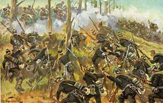 Prussian guards assault on French position at Spicheren, Aug. 1870