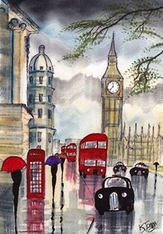 'Rainy Day~London' Watercolor by British artist KJ Carr Art And Illustration, London Illustration, London Rain, London City, Illustrator, Umbrella Art, Art Portfolio, Rainy Days, Painting & Drawing
