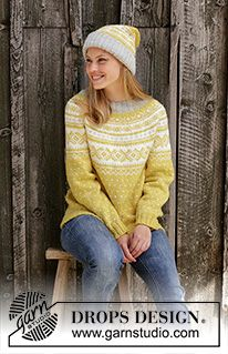 Lemon Pie - Knitted jumper in DROPS Karisma. Piece is knitted top down with round yoke and Nordic pattern. Size: S - XXXL Knitted hat in DROPS Karisma. Piece is knitted with Nordic pattern fold in rib. - Free pattern by DROPS Design Knitting Patterns Free, Free Knitting, Crochet Patterns, Nordic Pattern, Drops Karisma, Diy Knitting Projects, Icelandic Sweaters, Drops Design, Fair Isle Knitting