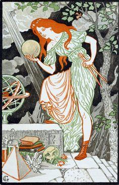 Eugene Grasset Art Nouveau Print Woman Observing Flowers
