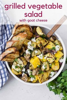 Tender marinated zucchini, summer squash, mushrooms, and red onions are grilled to smoky perfection, and topped with tangy goat cheese in this delish grilled vegetable salad. Serve it as a salad, a side dish, or a light summer entree. Grilled Roast, Grilled Pizza, Grilled Chicken Recipes, Grilled Vegetable Salads, Grilled Vegetables, Summer Entrees, Grilling Recipes, Cooking Recipes, Chicken Curry Salad