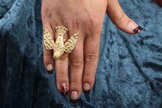 Bird Ring, Flying Bird, Dove, Pigeon, Plating 18k Yellow Gold Ring, Size 5-9 Adjustable