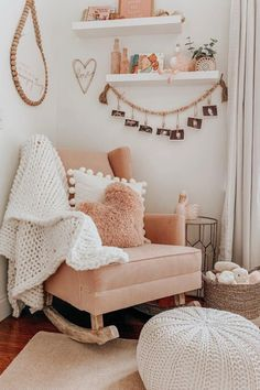 Get inspired to prepare and create the perfect room for your baby girl. These baby girl nursery ideas can help you create a cute girly room style. decor 50 Inspiring Nursery Ideas for Your Baby Girl - Cute Designs You'll Love Baby Bedroom, Baby Room Decor, Nursery Room, Girl Nursery, Girl Room, Girls Bedroom, Diy Nursery Decor, Bedrooms, Boho Nursery